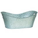 Oval Embossed Silver Metal Planter (17'') 6/cs
