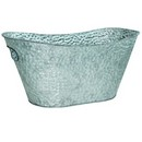 Oval Embossed Silver Metal Planter (Approx. 15