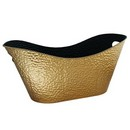 Oval Embossed Gold Metal Planter (Approx. 15