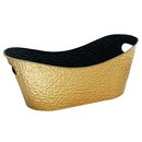 Oval Embossed Gold Metal Planter (Approx. 20