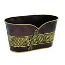 Oval Embossed Brown/Gold Metal Planter (Approx. 10