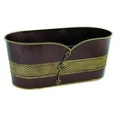 Oval Embossed Brown/Gold Metal Planter (Approx. 16