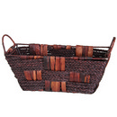 Seagrass and Corn Husk Basket with Iron Frame 13 12/cs
