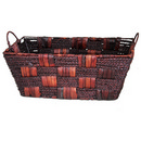 Seagrass and Corn Husk Basket with Iron Frame 17 12/cs