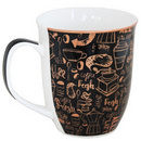 Black Mug with Coffee Words Design 17 oz 36/cs