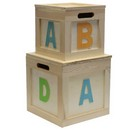 ABC Wooden Cube Box (Set of 2) 6/cs