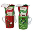 Too Good Gourmet Asstd Cocoa Mug w/ Spoon Sets (Red, Green) 12/cs